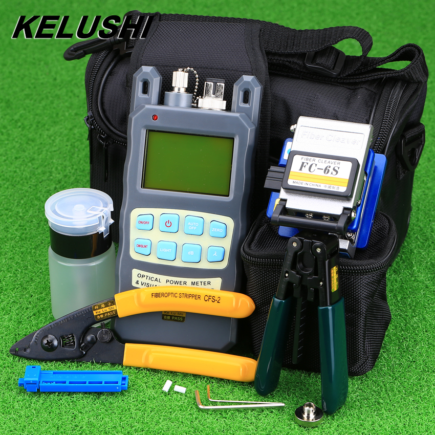 KELUSHI 9pcs set FTTH Tool Kit with FC 6S Fiber Cleaver and Optical Power Meter 10mW