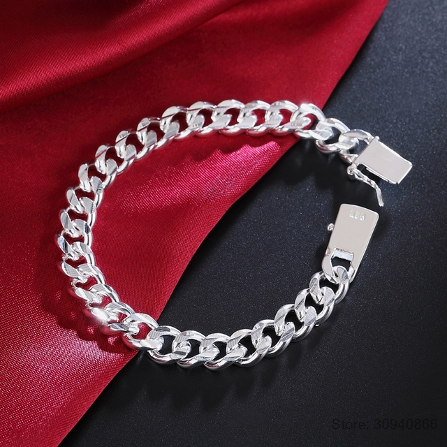 925 sterling silver 10MM Square Buckle Nice Jewelry Men Bracelet 21CM Sideway Link Chain Bracelet Male Bangle Pulseiras de Prata 2