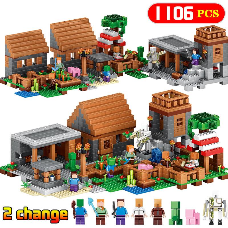 Compatible LegoINGLYS village Minecrafted My world mini New sets figures Building Blocks children kids toys children bricks велосипед eltreco jazz 350w 2016