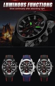 Image 3 - MEGIR İzle Erkekler Su Geçirmez Chronograph Takvim Askeri Erkek Saat Üst Marka Lüks Kauçuk Iş Adam Spor Kol Saati 2063