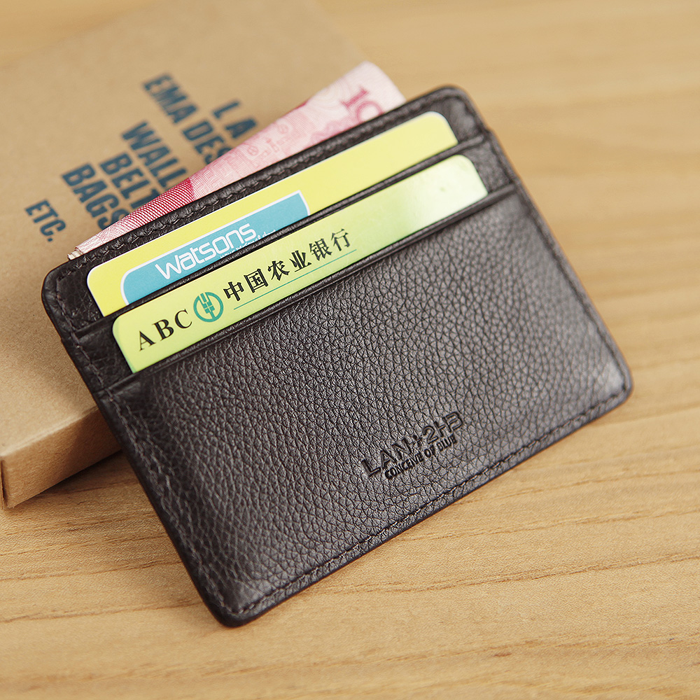17bab3581051c LAN 100% Leather men s credit card case slim bank card case credit Card  Holder hot sale ID card holder fashion travel case-in Card   ID Holders  from Luggage ...