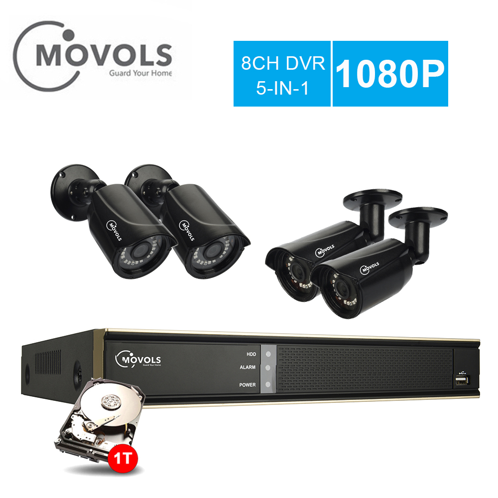 MOVOLS CCTV Système 4 Surveillance Caméra 8CH 2000TVL En Plein Air Intempéries Caméra de Sécurité 8CH 1080N Vidéo Surveillance DVR Kit