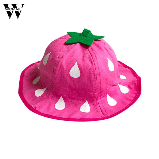 2017 Lovely Baby Kids hats Strawberry Printed Bucket Hat Folding Sun Hat  Fisherman Cap Hat 8c3329d5af2e