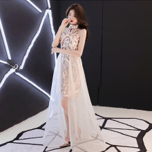 Halter Evening Dresses Bling Champagne Romantic Tiered Hem Formal Prom Women Fashion Al-line Zipper Long Party Gown E090