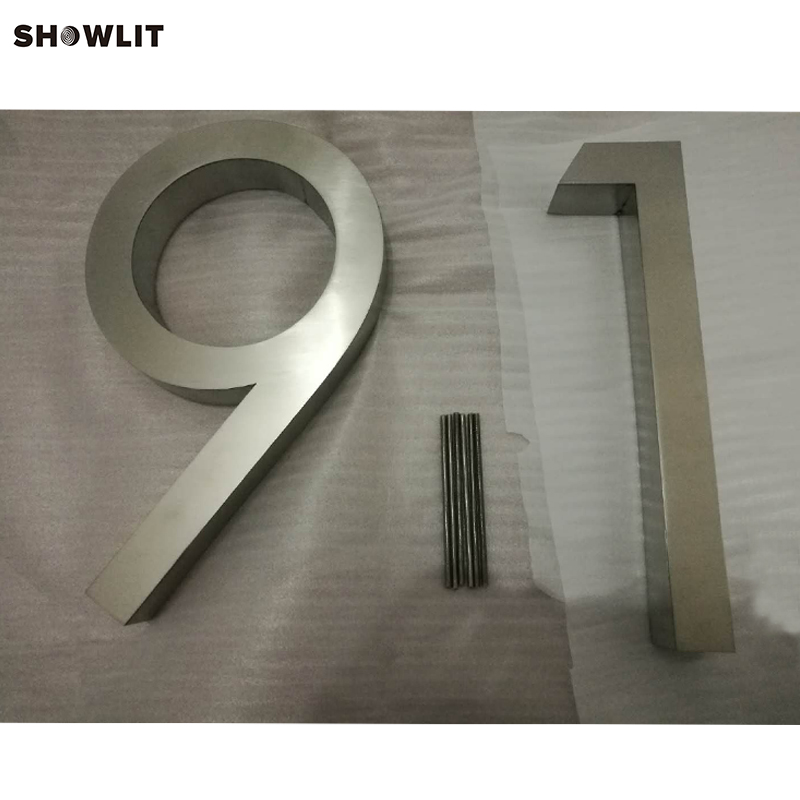 Garden Decor Brushed Stainless Steel House Address Numbers popular brushed stainless steel led backlit house numbers