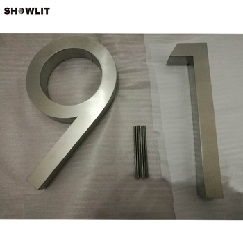 Garden Decor Brushed Stainless Steel House Address Numbers