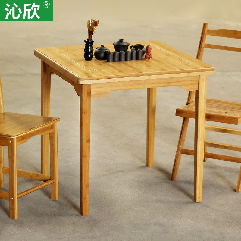 Qin yan bamboo large square table wood dining table for Small dining table for 6