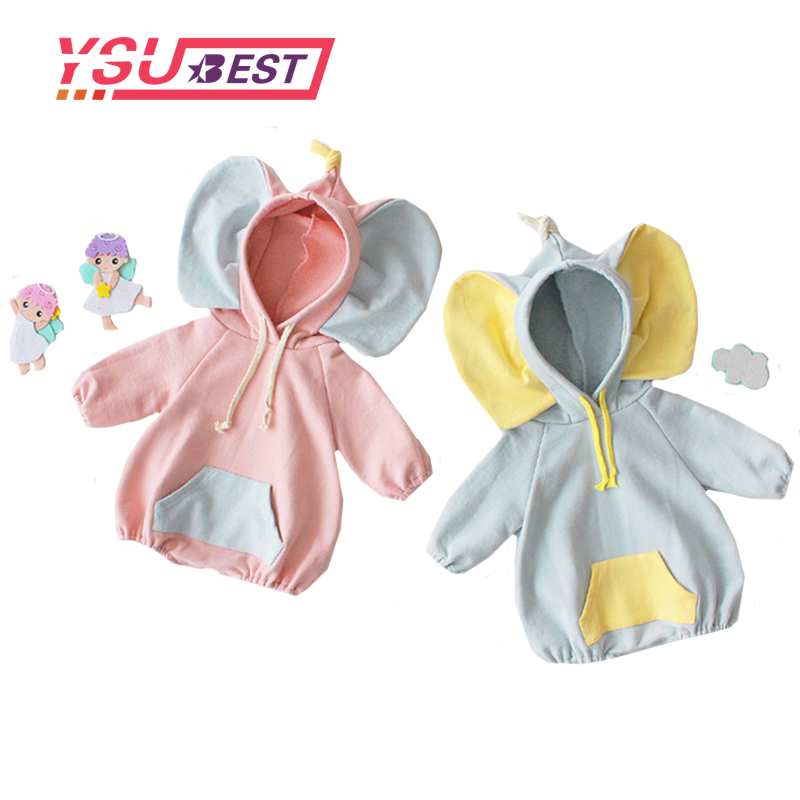 Korean Baby   Romper   Children's Clothing Spring Coveralls Custom Baby Big Ears Elephant Male and Female Baby Clothes Climb   Romper