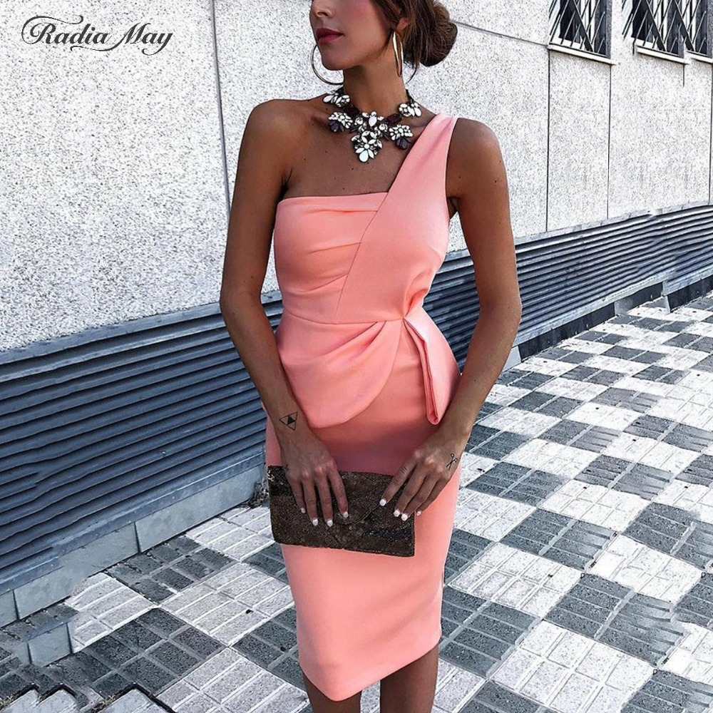 Sexy Knee Length One Shoulder Short Pink Cocktail Dresses Peplum Red Satin Short Formal Party Dress