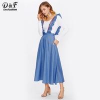 Dotfashion Chambray Saia Com Bordados Ruffle Strap Plain Mulheres Boho Roupas 2017 Azul Uma Linha de Fundo Bonito Outono Saia