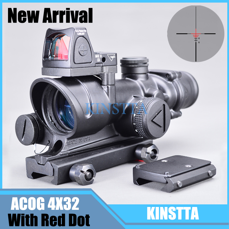 Tactical 4x32 Style LED Scope HD Sight Scope Illuminated RifleScope With Reflex Adjustable Mini Red Dot Sight Scope For Hunting