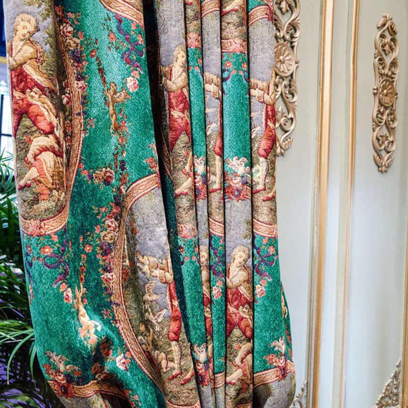 villa window curtain Cupid drapery green curtain Oil painting kitchen curtains gordijnen drapes firany na okno Blackout Curtains