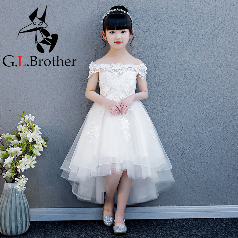 Luxury Flower Girl Dreses Wedding Off The Shoulder Princess Dress Lace Up Short Front Long Back Kids Pageant Dress For Birthday blue off the shoulder lace up front denim crop top