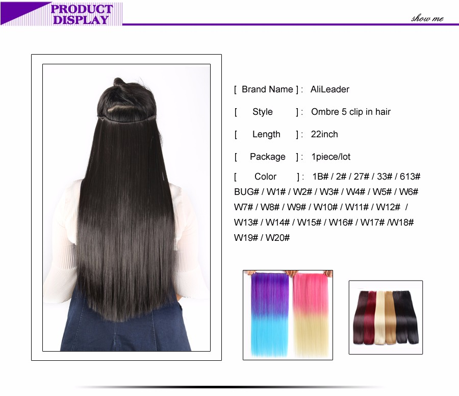 Provided Alileader 5 Clip In Hair Extension Ombre Purple Red Color 22 Inch 56cm Long Straight Fake Synthetic Hairpiece Natural Full Head Fast Color Hair Extensions & Wigs