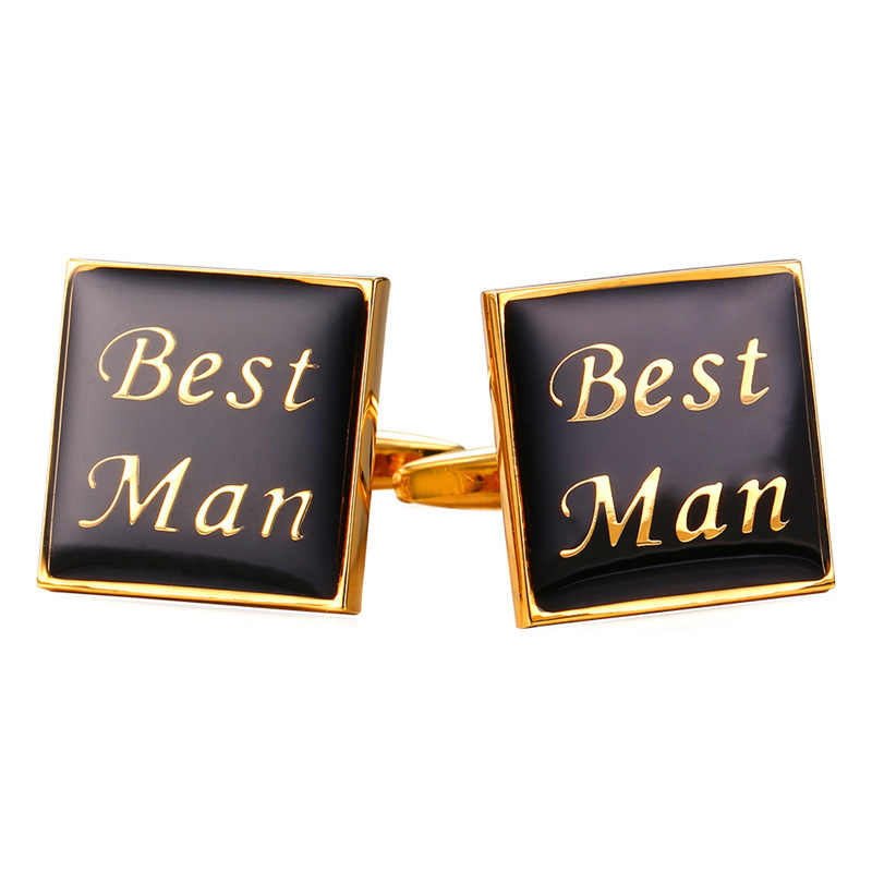 Kpop 'Best Men' Mens Cuff Link Gold Color With Enamel Cufflinks For Mens Gift Wholesale Cufflinks High Quality Men Jewelry C341