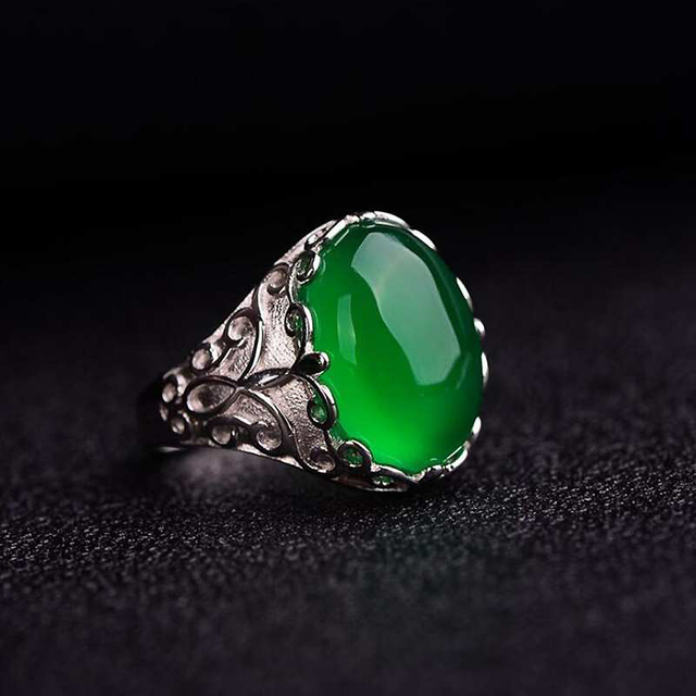Ruifan Natural Stones Green Agate Emerald Gemstone Ring Genuine 925 Silver Rings Jewelry for Women Gift for March 8 YRI118