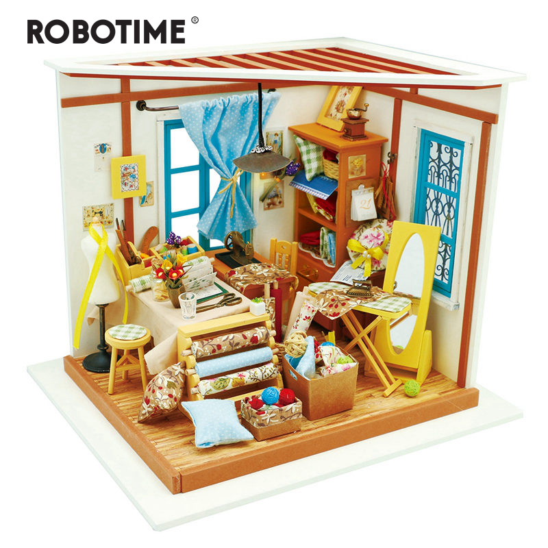 Robotime DIY Doll House Lisa s Tailor Children Adult Miniature Wooden Dollhouse Model Building Kits Educational