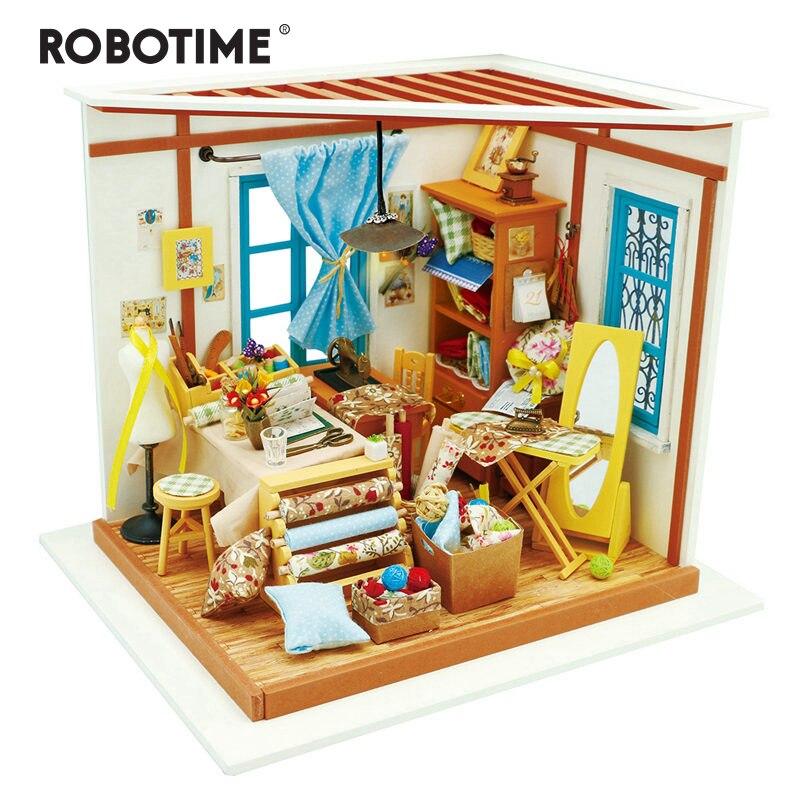 Robotime bricolage maison de poupée Lisa tailleur enfants adulte Miniature en bois maison de poupée modèle Kits de construction jouets éducatifs DG101
