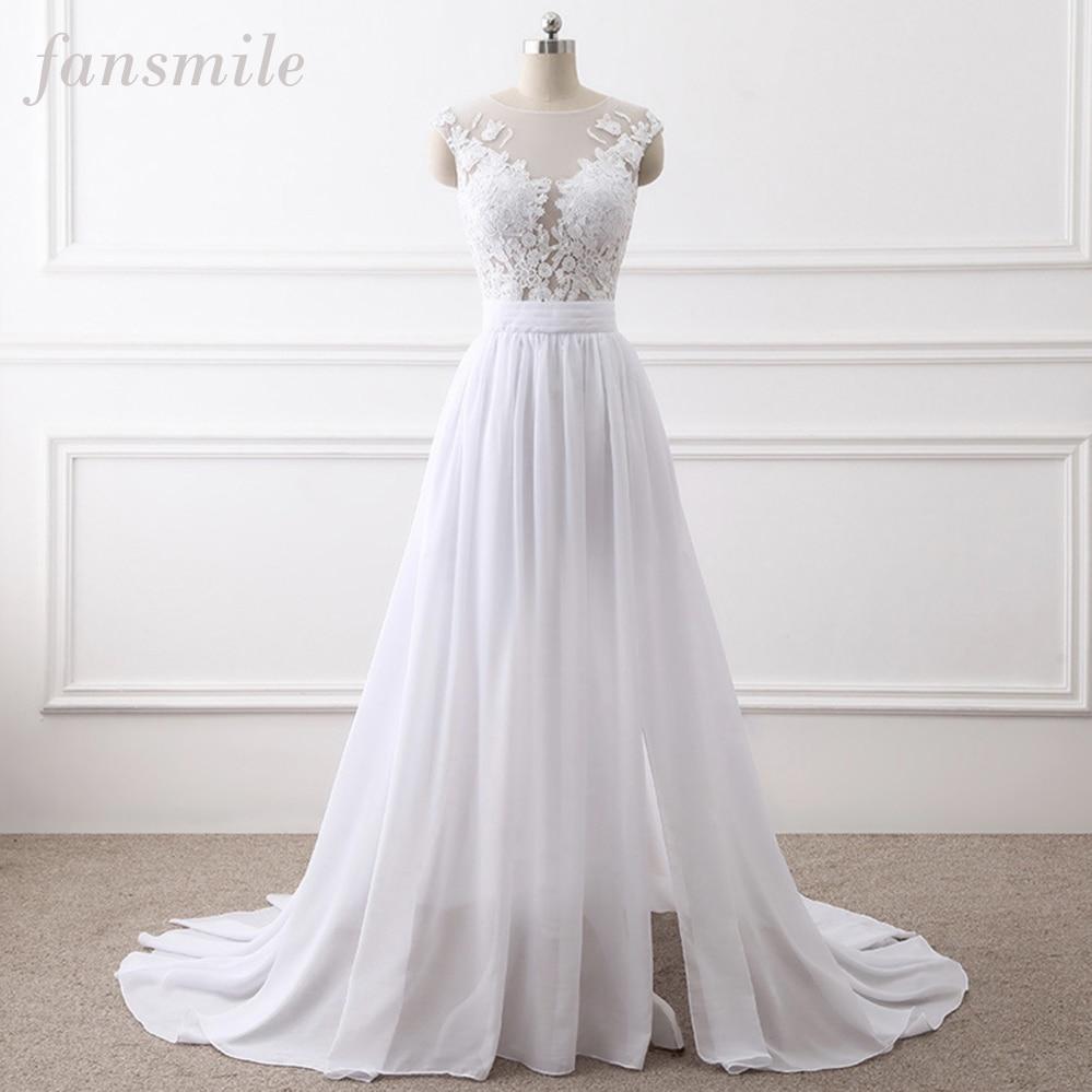 Fansmile New Chiffon Vestido De Noiva White Lace Wedding Dresses 2020 Plus Size Long Train Wedding Gowns Bride Dress FSM-455T