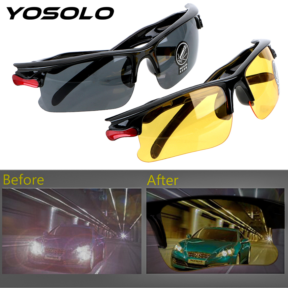 YOSOLO Car Driver Goggles Night-Vision Glasses UV Protective Gears Sunglasses Night Vision Driving Glasses Eyewear Accessories