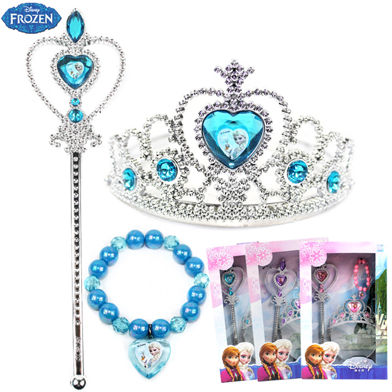 Disney Frozen Toys For Girl Children's Crown Headdress Princess Set Cute Baby Bracelet Girls Accessories Magic Wand Girl Toys