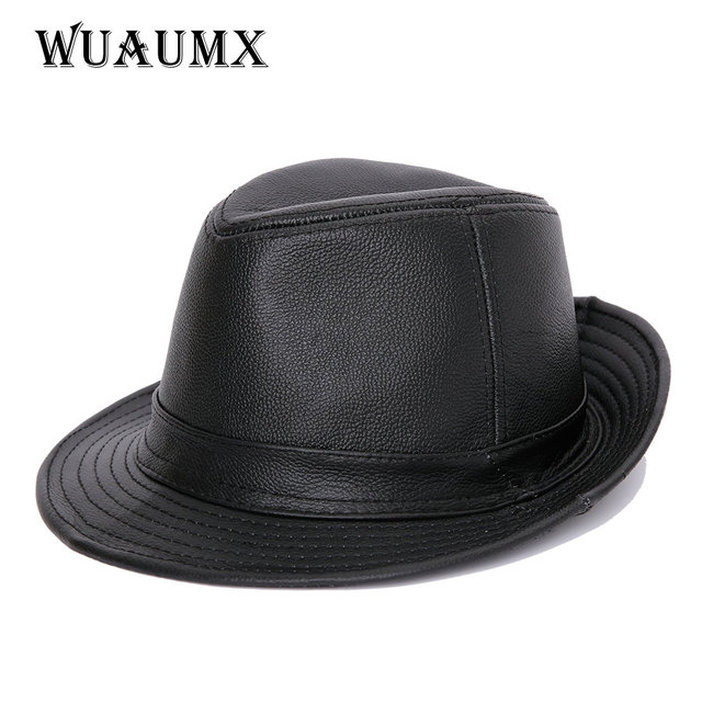 Genuine Leather Cow Leather Fedora Hat For Men Women Cowskin JAZZ Hats Flat  Top Casual Gentleman British Style Fedoras Panama b76d95a3000