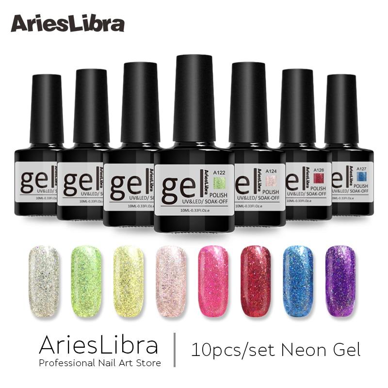 AriesLibra 10PCS Neon Gel Lacquer Set Long Lasting Top