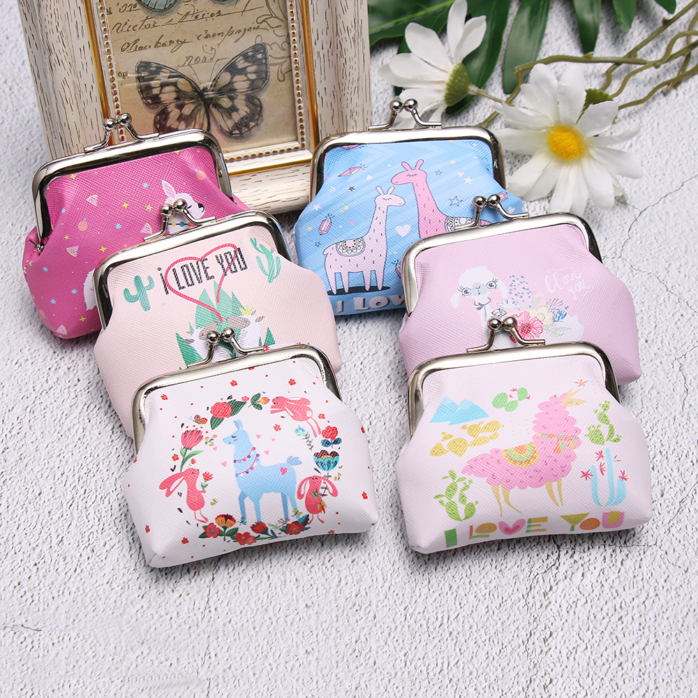 New Design Cute Coin Purse Alpaca Print Coin Bag Women Girls Mini Wallet Fashion Coin Bag Zero Wallet Change Pouch Kids Gift(China)