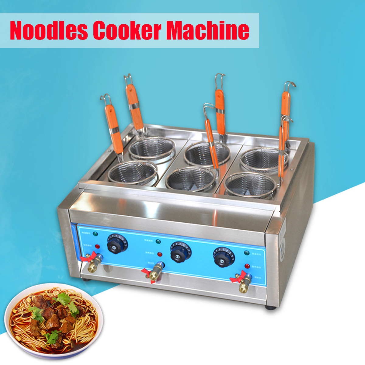 220V Multifunctional Table Electric Noodles Cooker Heating Machine Furnace 4/6 Holes Commercial Pasta Food Cooker Business Use 5b rear highway road wheel set with nylon super star wheel ts h95085 x 2pcs for 1 5 baja 5b wholesale and retail