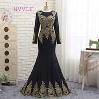 Navy Blue Muslim Evening Dresses 2018 Mermaid Long Sleeves Chiffon Appliques Lace Elegant Long Evening Gown Prom Dress Prom Gown