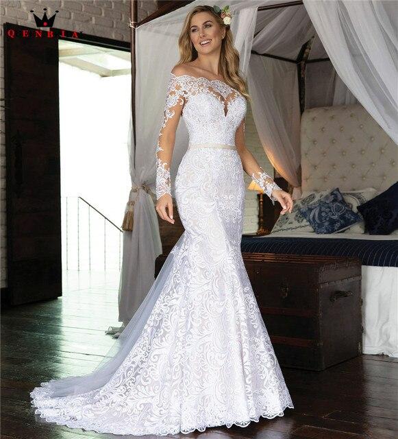 Vestidos de novia de manga larga hechos a medida, sirena, Cuenta de encaje de tul, vestidos de novia formales de lujo, Vestido de novia 2020 WH48