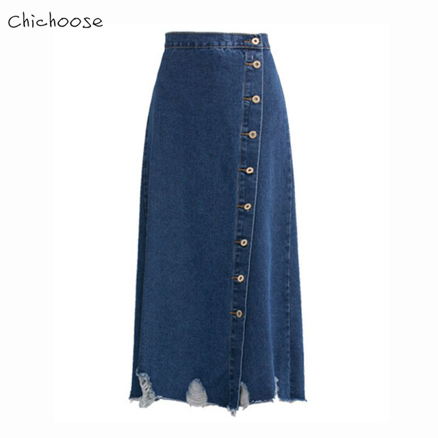 a7ac1d2b410 Chichoose Women Denim Skirts Long Skirt High Waist Jeans Maxi Skirts Casual  Vintage Button Ankle-Length Skirts Womens 2017