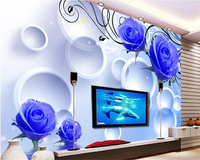 Beibehang Hanging On The Wall Of The Large Wall Paper Blue Rose Reflection 3D Living Room