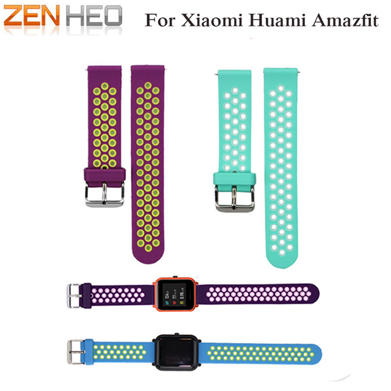 ZENHEO Silicone Dual Color Breathable Replacement Watchband Bracelet Wrist Band Strap for Xiaomi Huami Amazfit Bip Youth Watch hiperdeal breathable watch band lightweight ventilate wrist strap comfortable wristband for huami amazfit bip youth watch