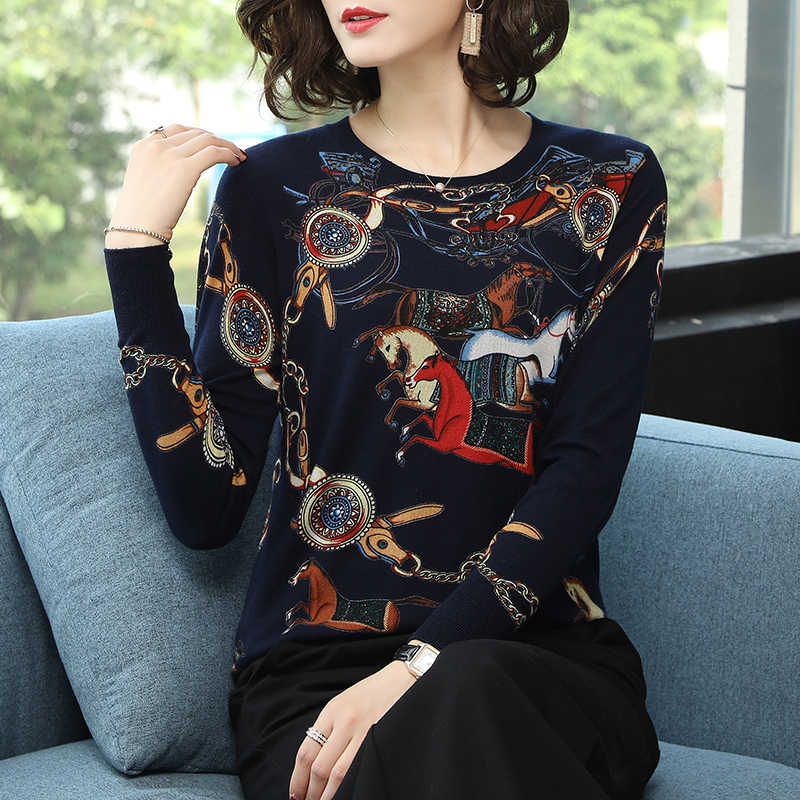 YISU 2019 คุณภาพสูงเสื้อกันหนาวฤดูใบไม้ผลิฤดูใบไม้ร่วงถักเสื้อกันหนาวสีพิมพ์ Pullover ผู้หญิง O - Neck เสื้อกันหนาวหญิงเสื้อ