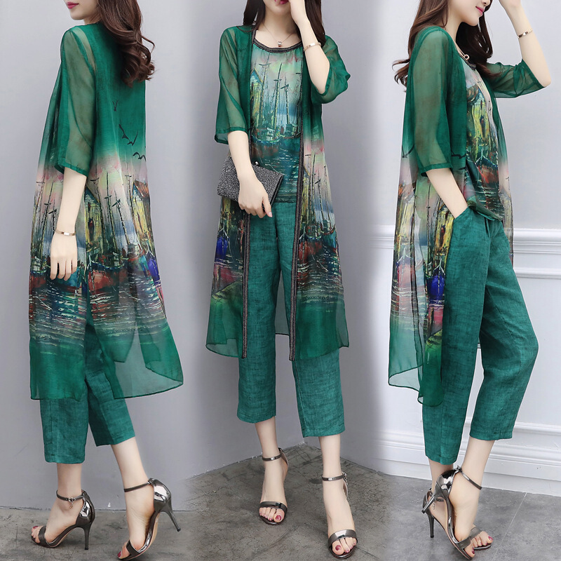 Summer 3 Piece Set Pants Chiffon Vest +Cardigan +Cropped Pants Large Size Casual Fashion Suit Female 2019 New Women's Suit 3XL