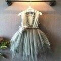 Ccsme DHL niñas niños Casual playa vestido de verano niño ropa gris del vestido de tul