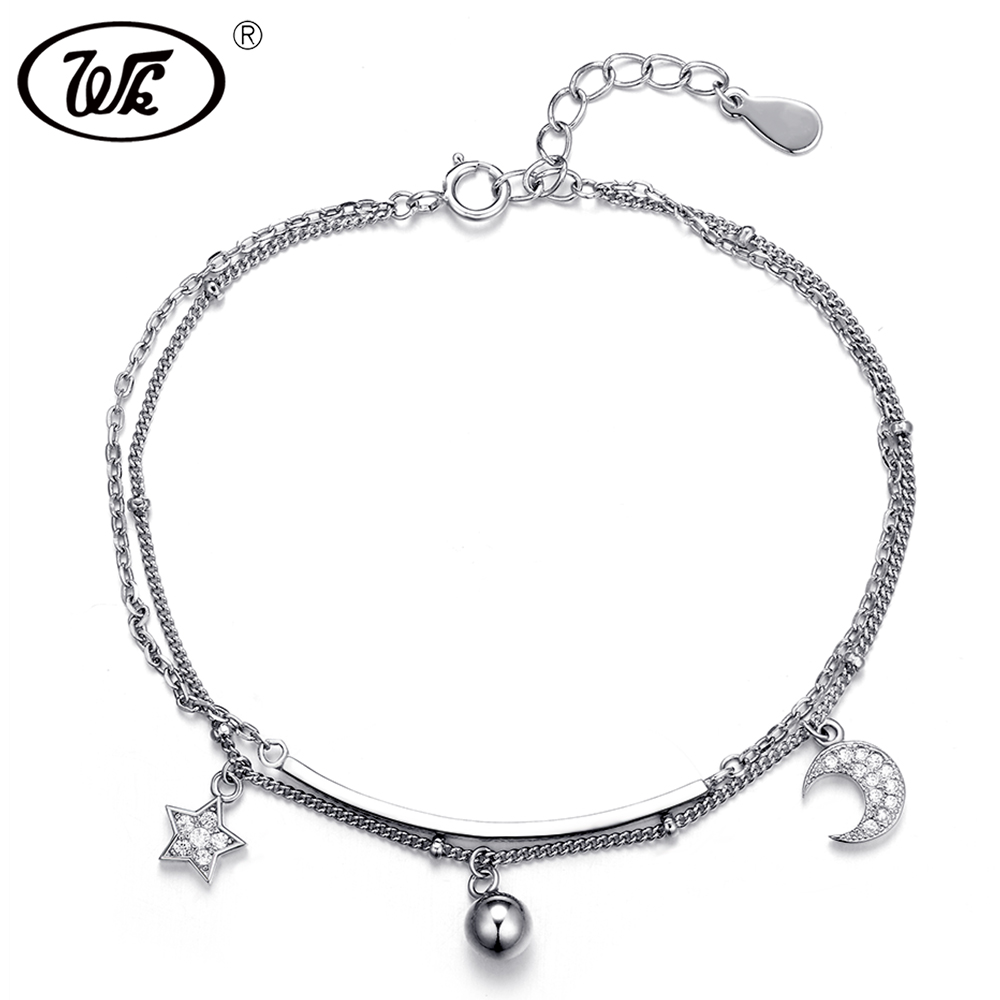 WK 925 Silver Bracelet Women Ladies Drop Ball Star Moon Pendant Double Chains Link Bracelets For Girls Party Jewelry FF BA016