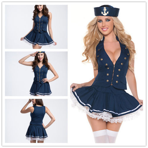 Sexy Blue Sailor Navy Costume Women Princess Waitress Cosplay Dress  Hat-In Movie -5701