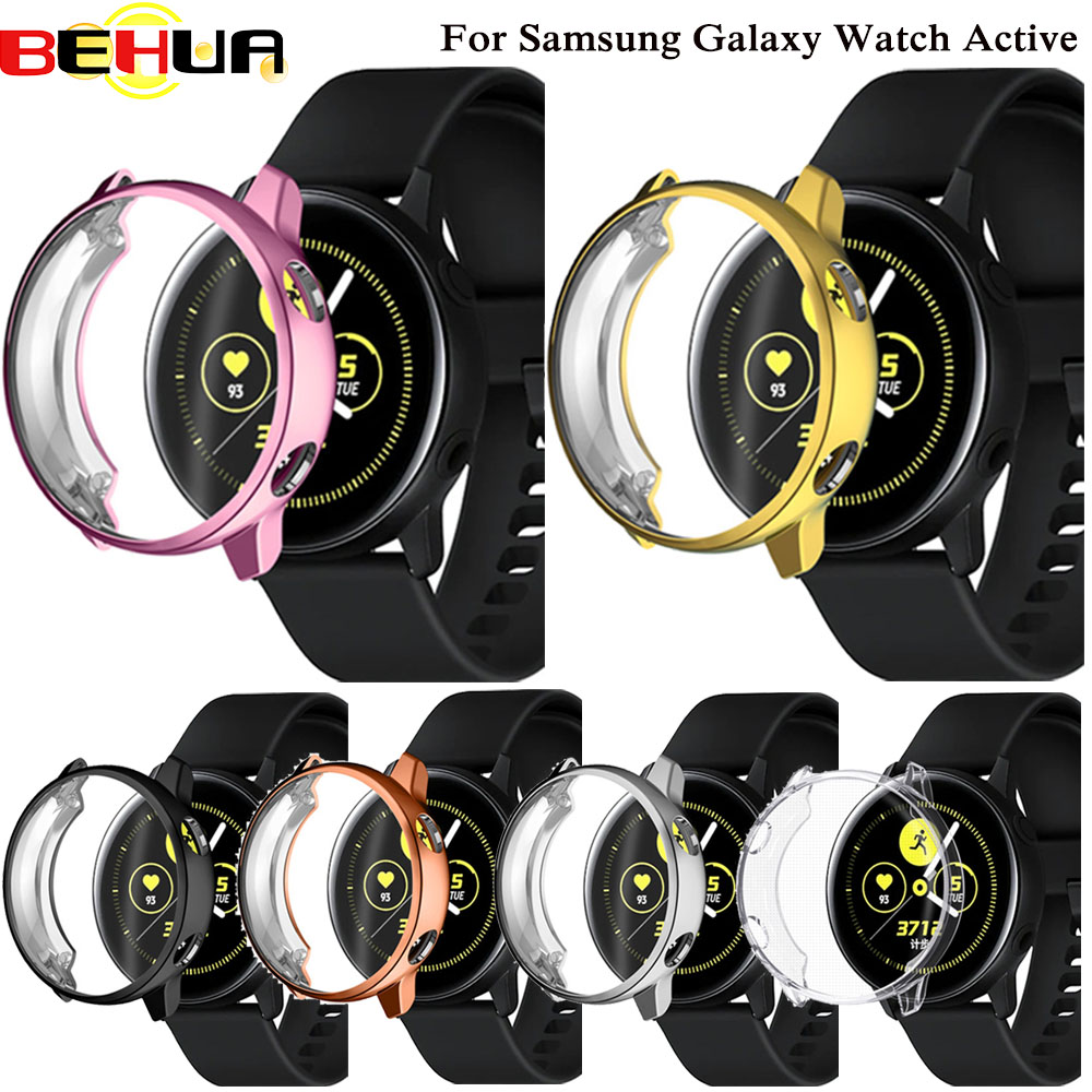 Soft Screen Protective Case For Samsung Galaxy Watch Active SM-R500 Thin TPU Full Cover Protector Shell Frame Bumper Accessories