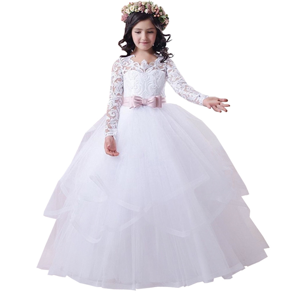 Girls dress Girl Dress Bow Double Lace Performance Birthday Tutu trailing Princess Ball Gown Long DressGirls dress Girl Dress Bow Double Lace Performance Birthday Tutu trailing Princess Ball Gown Long Dress