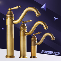 brass antique bathroom faucet hot and cold water