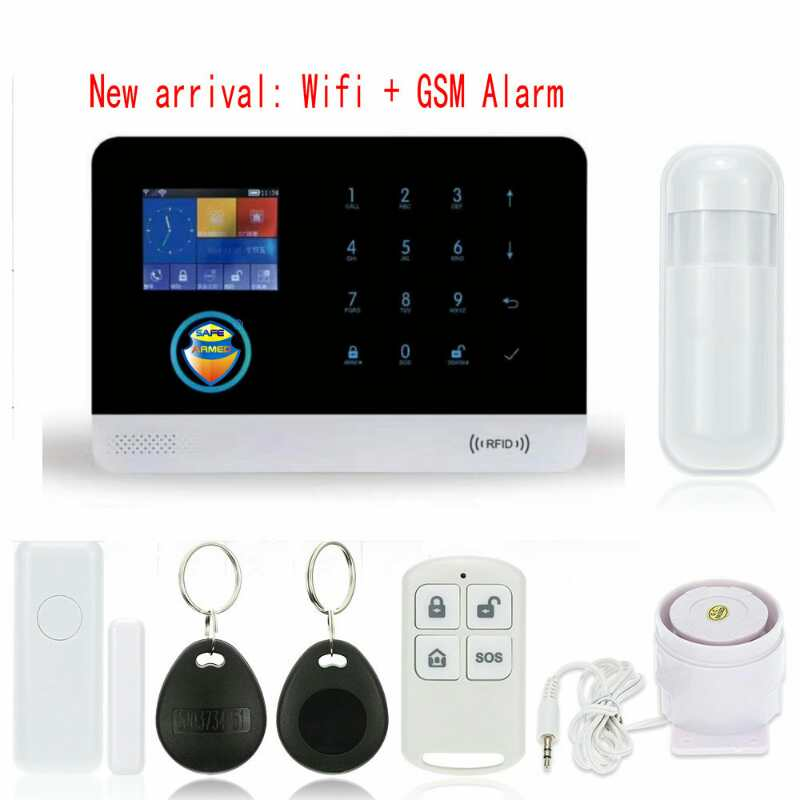New Black Color WIFI & GSM/3G/GPRS Intranet Alarm System with Free APP for Remote Monitor & Controlling with PIR & Door Sensor arduino atmega328p gboard 800 direct factory gsm gprs sim800 quad band development board 7v 23v with gsm gprs bt module