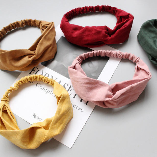 Women Spring Suede Soft Solid Headbands 2