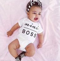 Goedkope Pasgeboren Baby Romper Mini boss Prints O hals Korte Mouw baby unisex Rompertjes Jumpsuit Casual wear Outfit onesie Y2