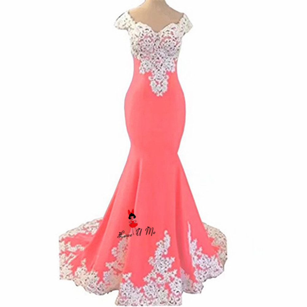Blue Pink White Lace Mermaid Prom Dresses Long 2018 Cap Sleeve Vestidos De Festa Chiffon Formal Evening Party Gowns Sweep Train