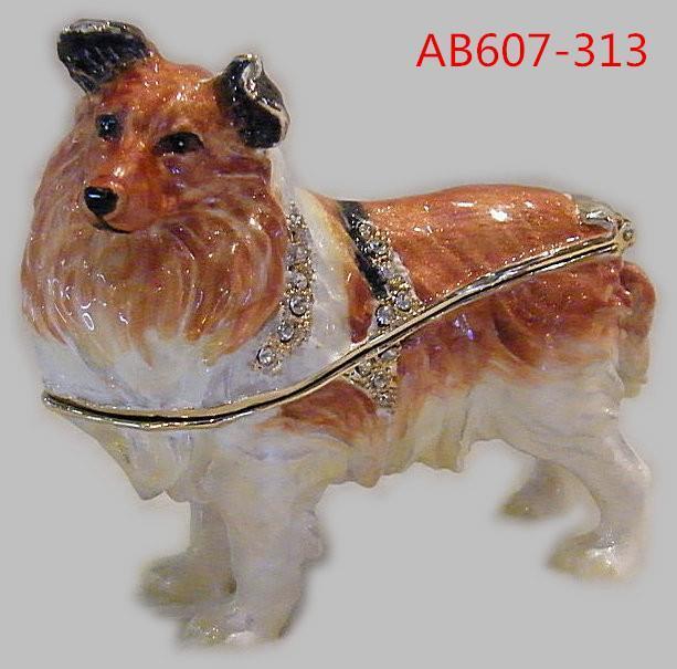 Sheepdog Sheltie Puppy Dog Bejeweled Enamel Jeweled Jewelry Trinket Box
