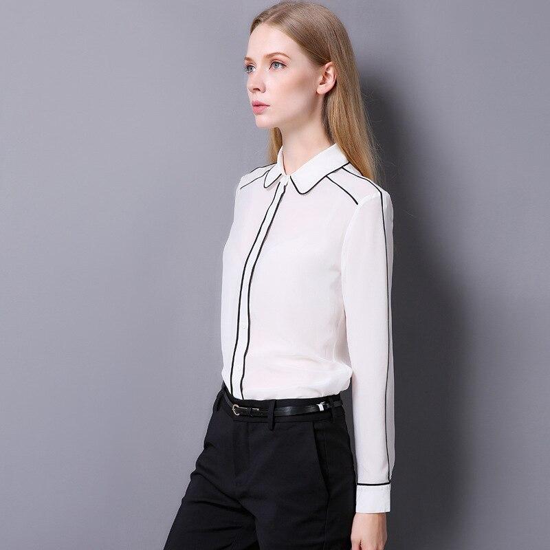 100% Crêpe De Soie Chemise Pur Crêpe De Soie Blouses Femmes Shirts Office Lady Chemises Nouveau Printemps et D'été Style - 5