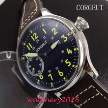 44mm Corgeut black dial Stainless steel Case 17 jewels 6497 hand winding movement Men's Watch