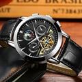 CADISEN Marca Reloj Mecánico Automático de Los Hombres de Moda Casual Relojes Correa de Cuero Reloj de Hombre de Buceo 3ATM Relogio masculino